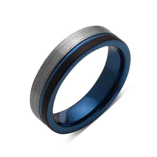 Blue Tungsten Wedding Band Black Brushed Gray Brushed Tungsten Ring 6mm Mens Ring Tungsten Carbide Engagement Band Comfort Fit Blue Tungsten Ring Tungsten Mens Rings Blue Tungsten