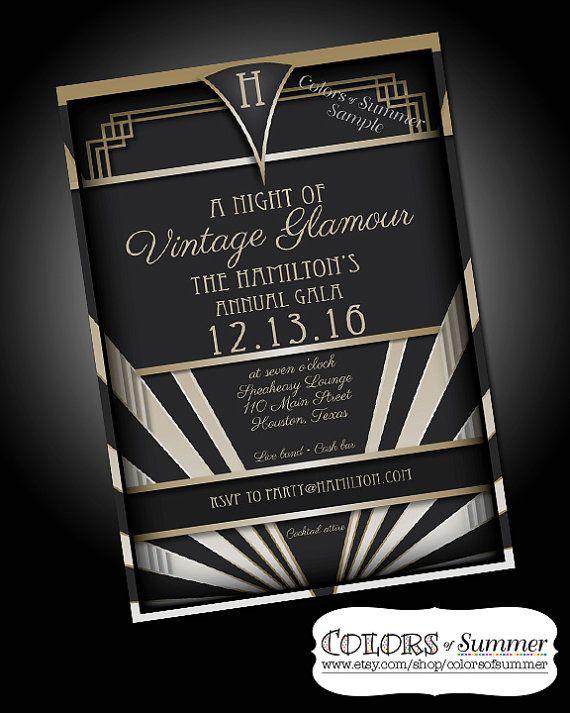 Vintage Glamour Invitation Speakeasy 1920 Roaring 20s Roaring