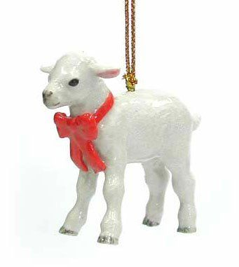 White Sheep LAMB MINIATURE Porcelain Red Bow Christmas Ornament New NORTHERN ROSE R308 ** Click on the image for additional details.