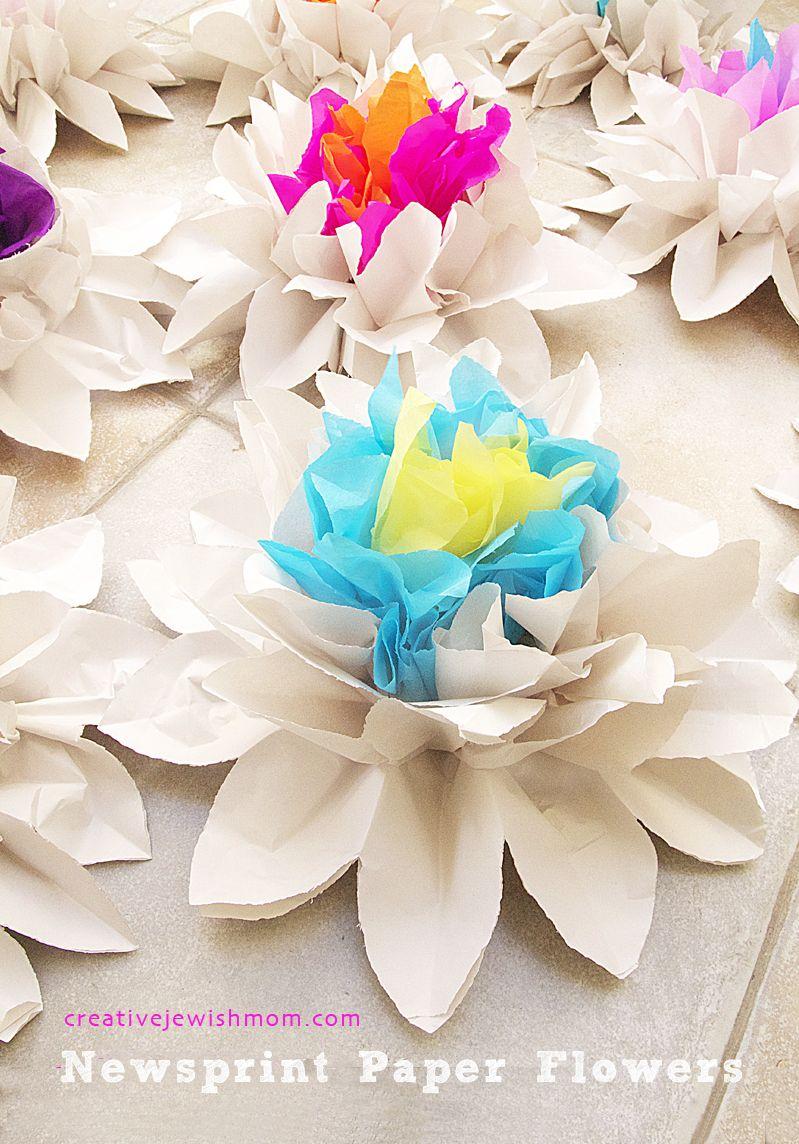 Newsprint crepe paper flower centerpieces paper art and craft newsprint and crepe paper accordian flower centerpieces mightylinksfo