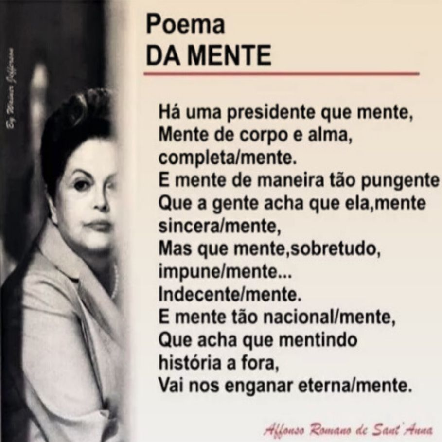 Poema DA MENTE ➤ https://plus.google.com/u/0/photos/photo/107052692456120680277/6290649653050277954 ②⓪①⑥ ⓪⑤ ③① #Impeachment