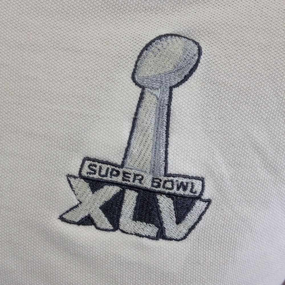 SuperBowl XLV White Polo Long Sleeve Shirt Embroidered Dallas Texas   Football  ffd8e42ac