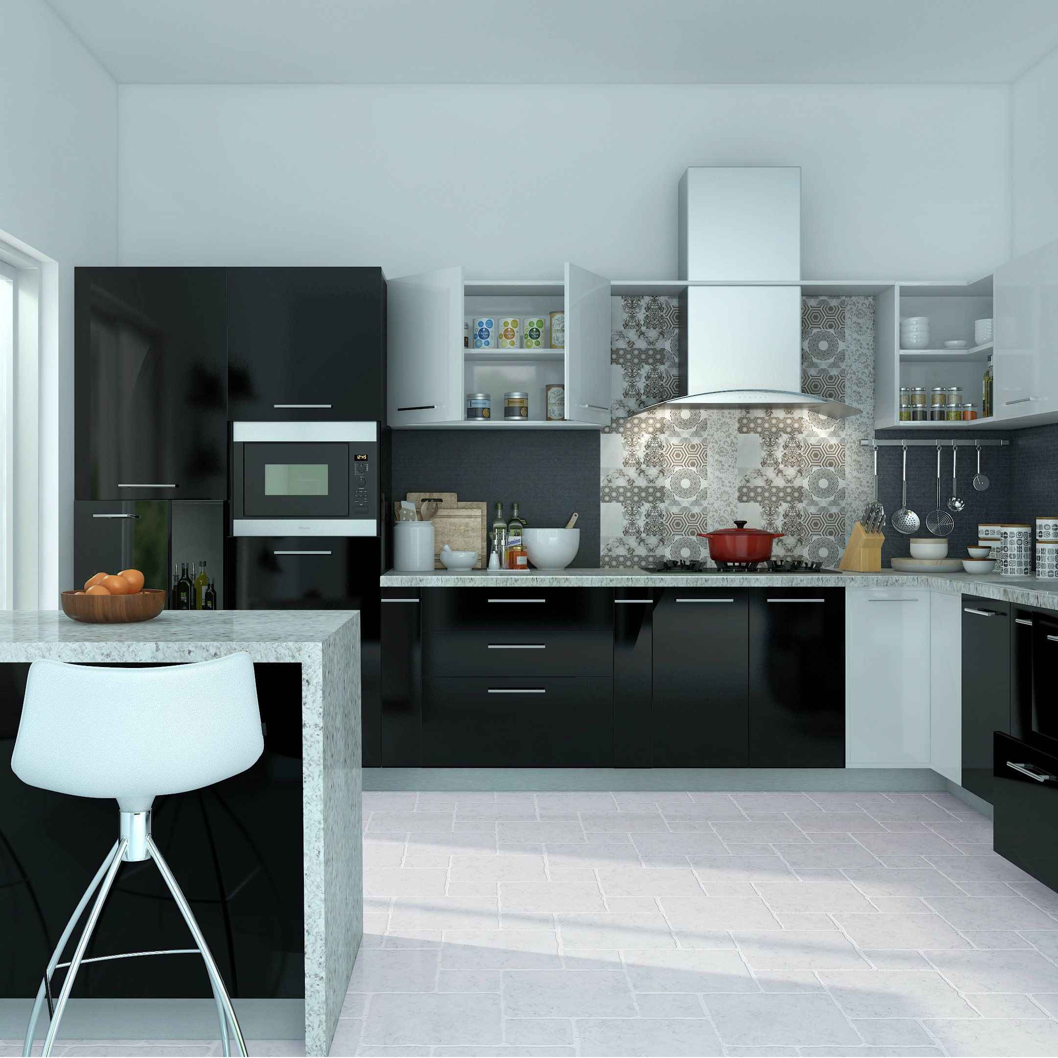 Nothing makes a bold statement like this black modular kitchen ...
