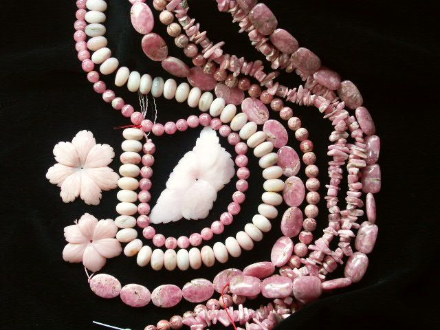 Pink opal and rhodochrosite