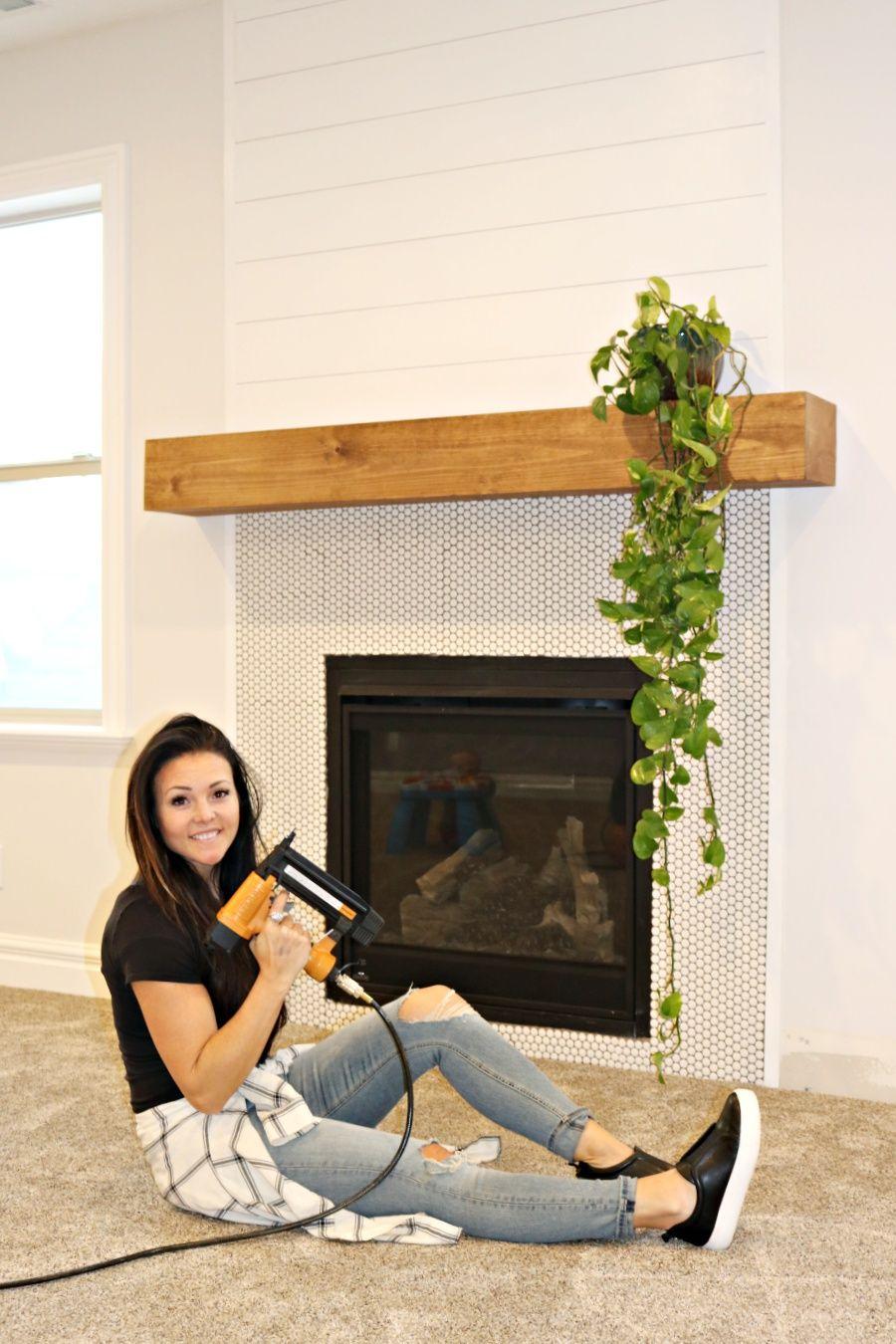 Easy DIY wood mantel Diy fireplace mantel, Wood mantels