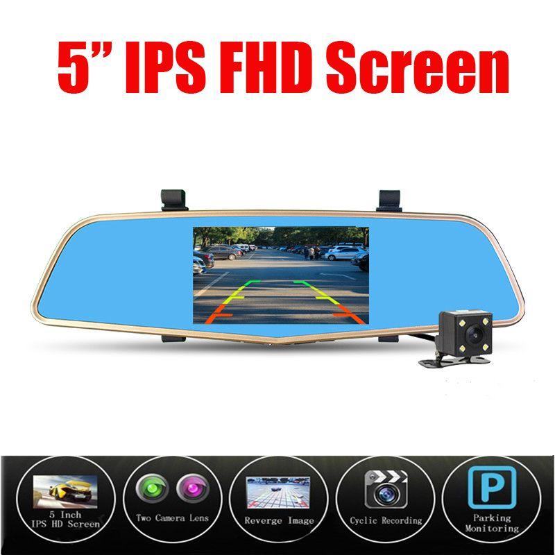 Nova Câmera Do Carro Dvr 5 Polegada Espelho Gravador de Vídeo Digital Dual lente Dvr Secretário Filmadora Full HD 1080 P De Vídeo Auto 96655 Cam