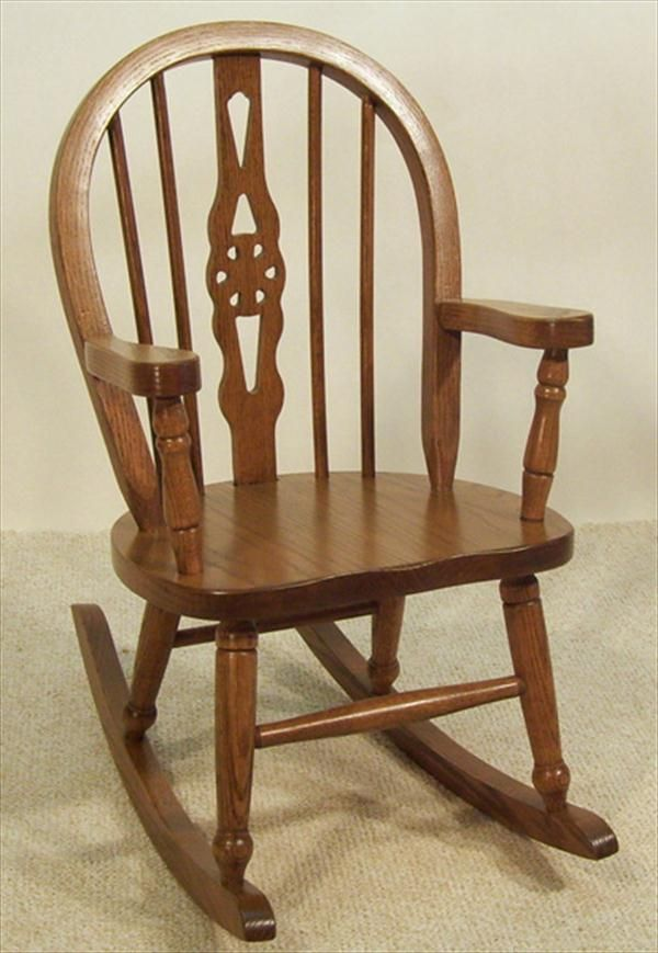 Amish Kids Furniture Rocking Chair Oak Windsor Back Delivery