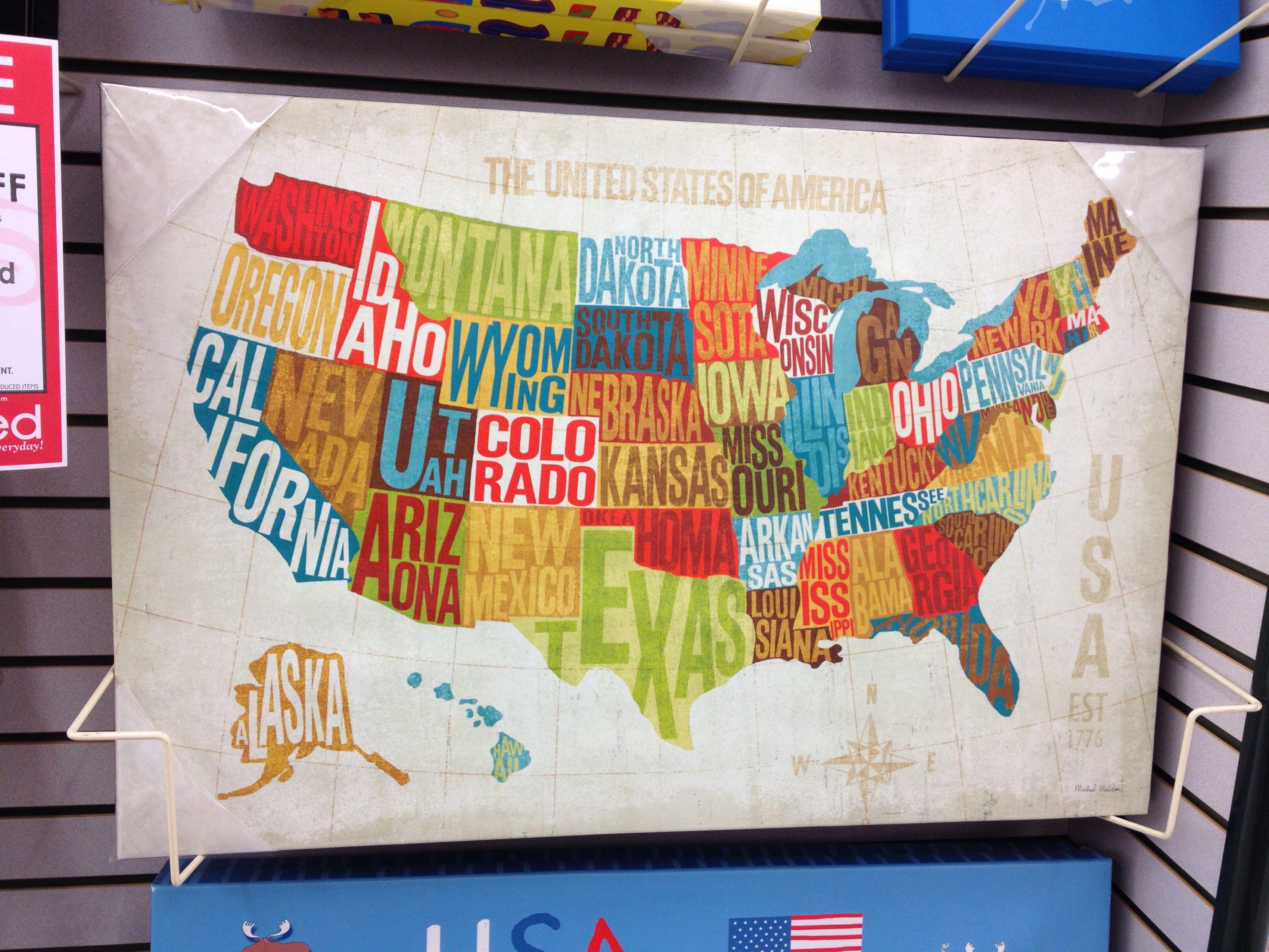 US Map Canvas Hobby Lobby Jay Davids room Pinterest Map