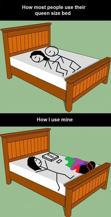 0067cc2f0902c5d3262052cf02a8a689 how most people use their queen size bed imglulz funny
