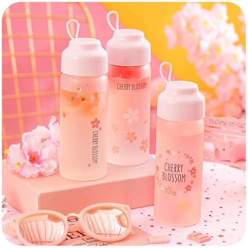 Cute sakura glass water bottle k13738 in 2020 glass