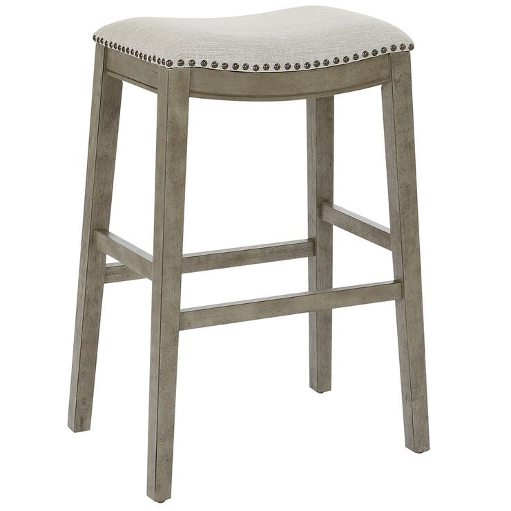 Haven Saddle Barstool Light Grey 29 In Bar Stools Saddle Bar Stools Saddle Stools