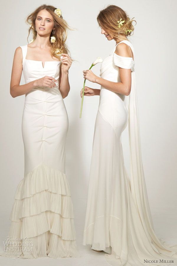 Nicole miller bridal collection bridal studio pinterest nicole nicole miller wedding dress nicole miller bridal collection square neck wedding dress with split junglespirit Choice Image
