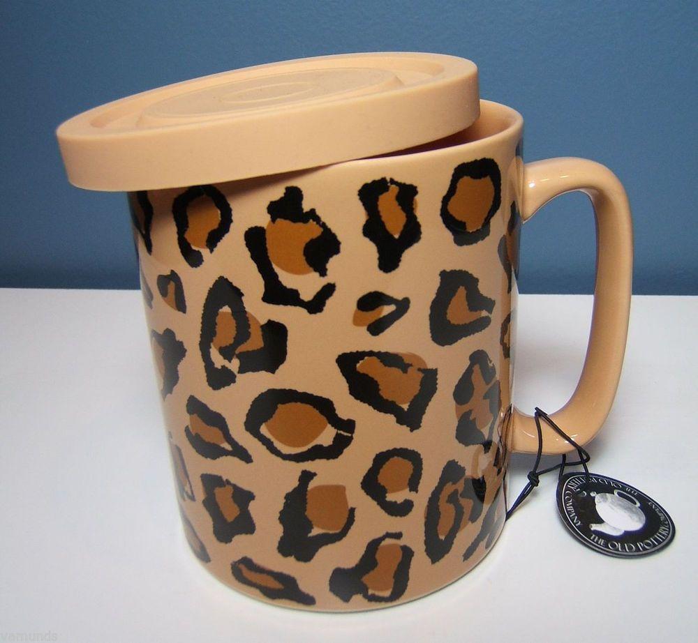 Animal Print Leopard Coffee Mug With Lid Large By Old Pottery Company Brown Tan Mugs Animal Print Fashion Animal Print