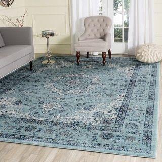 safavieh evoke light blue light blue vintage area rug 6u00277 x 6u00277 evk220e7sq size 7u0027 x 7u0027 medallion