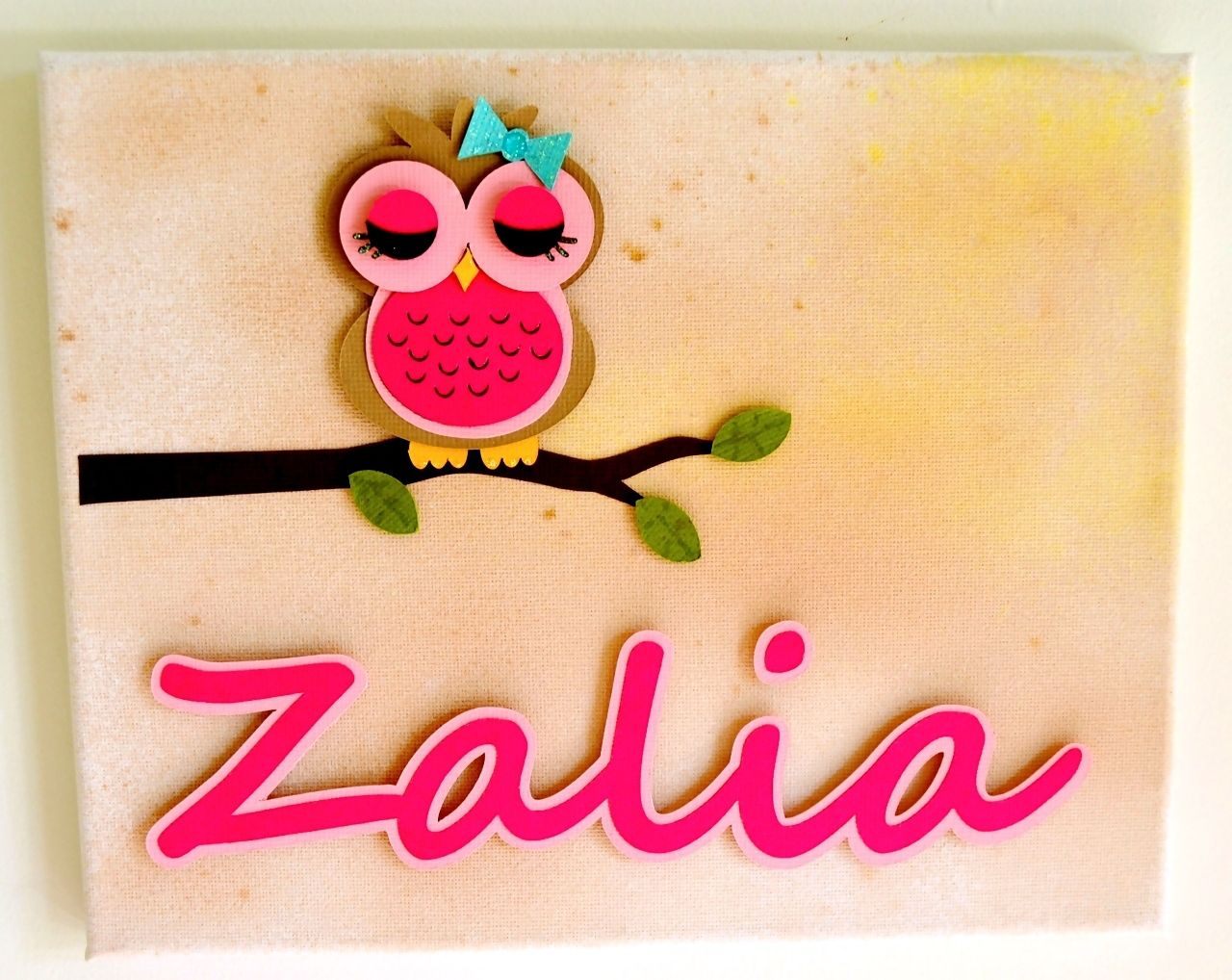 Personalised Owl 3D Paper Wall Art Canvas, 20cm x 25cm, for a baby ...