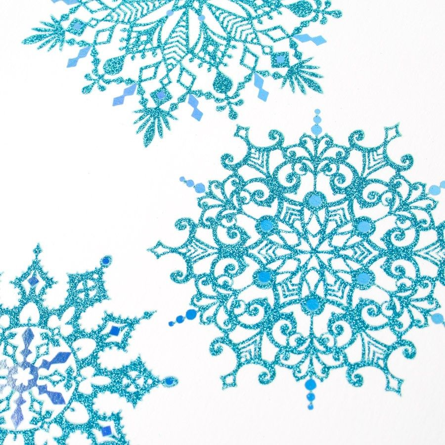 Falling Blue Snowflakes