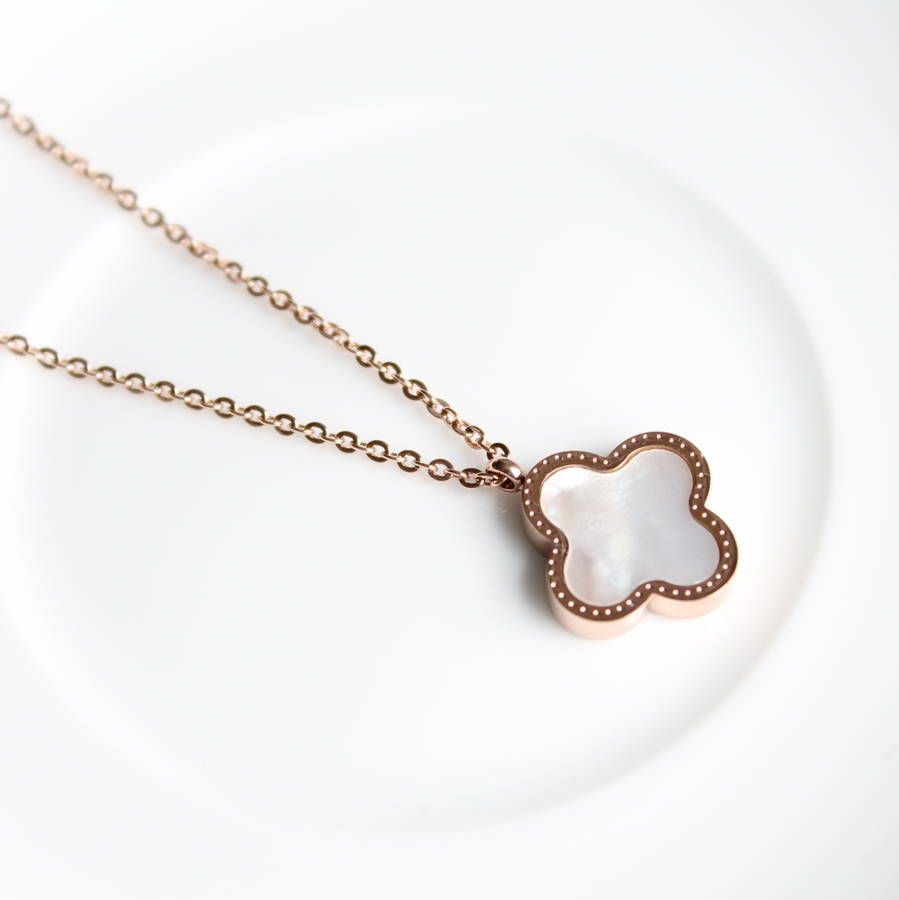 Rose gold mother of pearl clover pendant necklace jewelry rose gold mother of pearl clover pendant necklace aloadofball Image collections