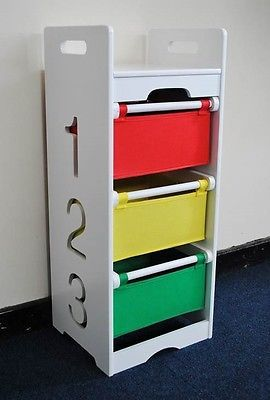 White Kids Chest Of Drawers Clothes Or Toy Storage 3 Tier Playroom Childrens  In Toy Boxes U0026 Chests   EBay