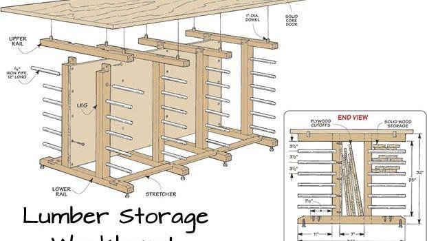 Workbench with Lumber Storage