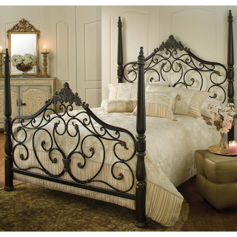 Parkwood Iron Bed In Black Gold   Guest Bedroom With Red Jacquard Bedding