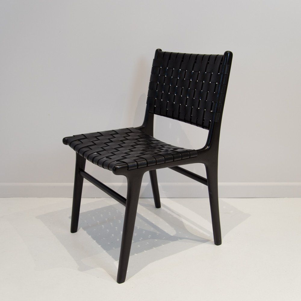 Leather Weave Dining Chair Black On Black Woven Dining Chairs