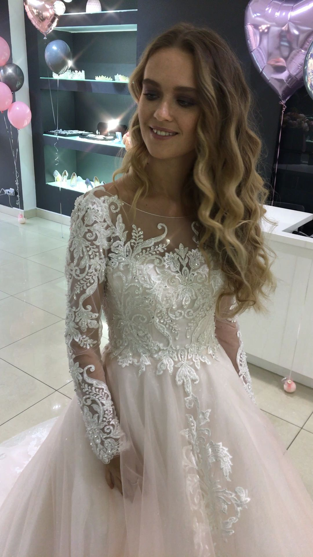 Photo of Wedding dress with sleeves.