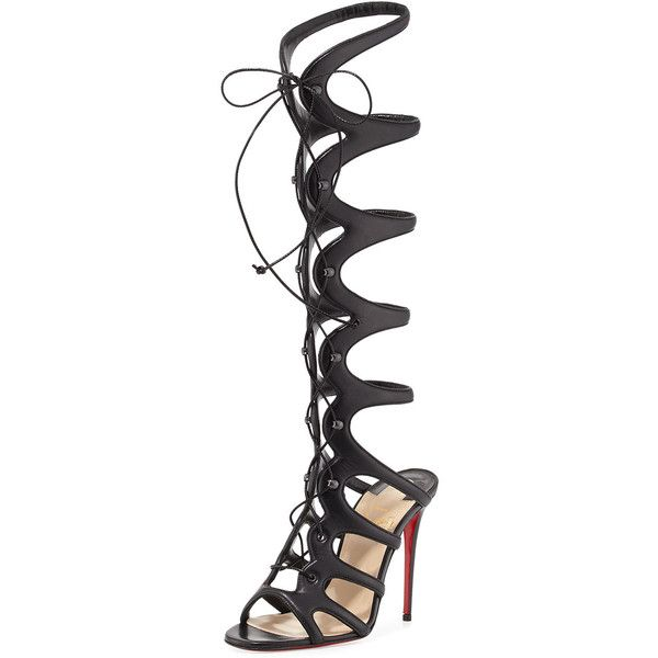 Christian Louboutin Amazoula 100mm Leather Gladiator Red Sole Sandal (13 185 SEK) ❤ liked on Polyvore featuring shoes, sandals, heels, black, gladiator sandals, black high heel sandals, high heel gladiator sandals, lace up heel sandals and black heel sandals