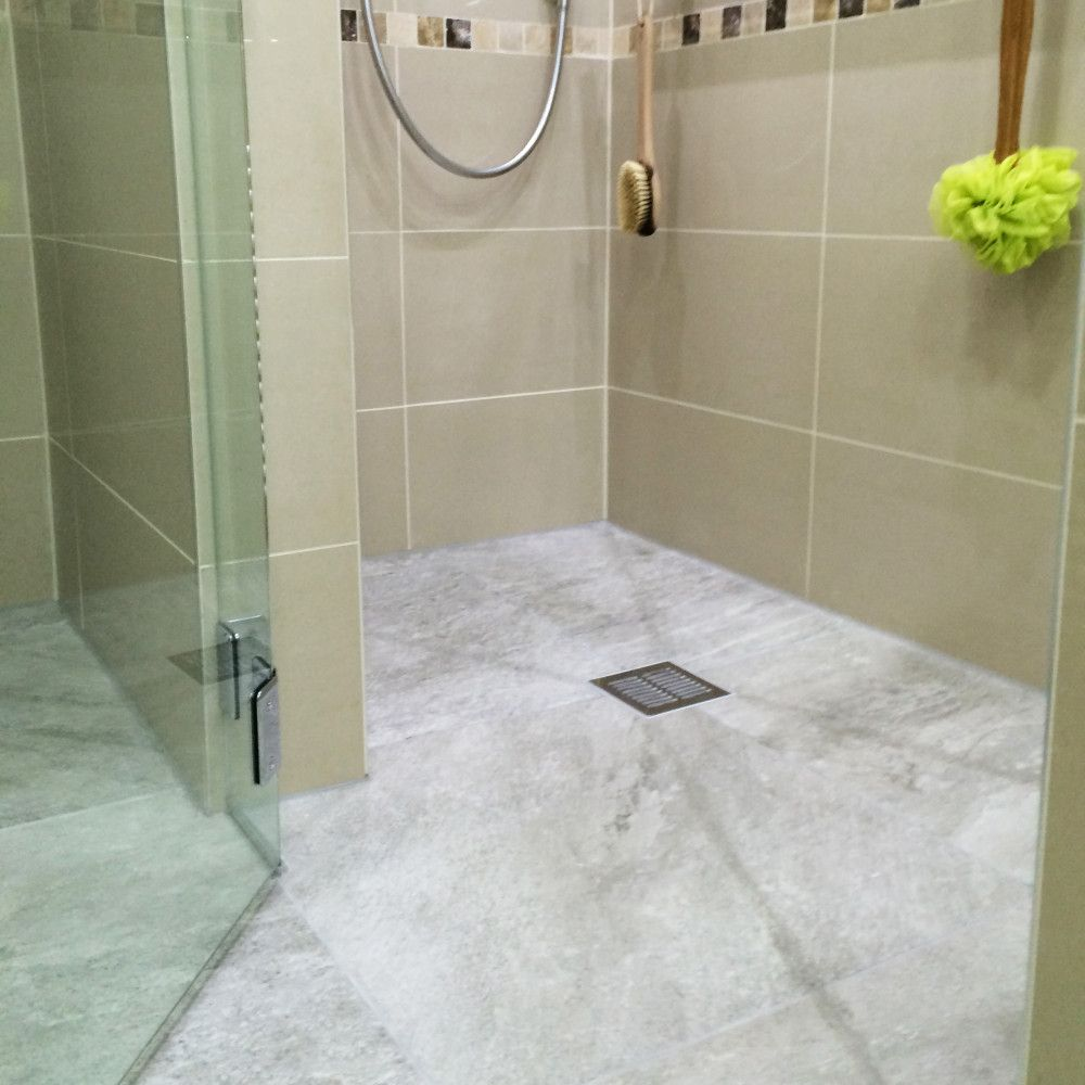 Grey tiled wetroom floor completed bathrooms dp interiors pinterest grey tiled wetroom floor dailygadgetfo Choice Image