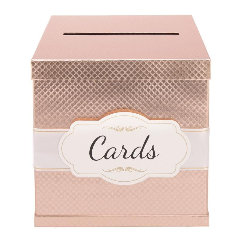 Rose Gold Gift Card Box With White Gold Foil Satin Ribbon Cards Label 10 X10 Textured Finish Perf In 2020 Wedding Gift Card Box Gold Gift Card Box Wedding Gift Cards