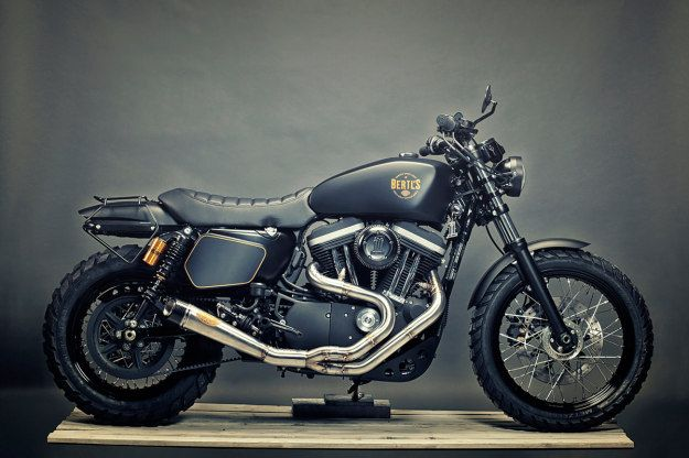 Stealthy: a Harley-Davidson Sportster 1200 custom built by Renard Speed Shop.  Click to read how was built.