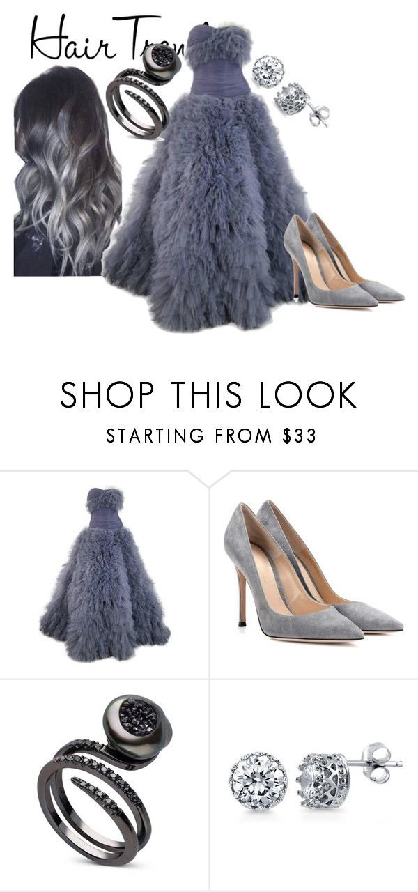 """""""Grey"""" by faeryrain on Polyvore featuring beauty, Marchesa, Gianvito Rossi, BERRICLE, hairtrend and rainbowhair"""