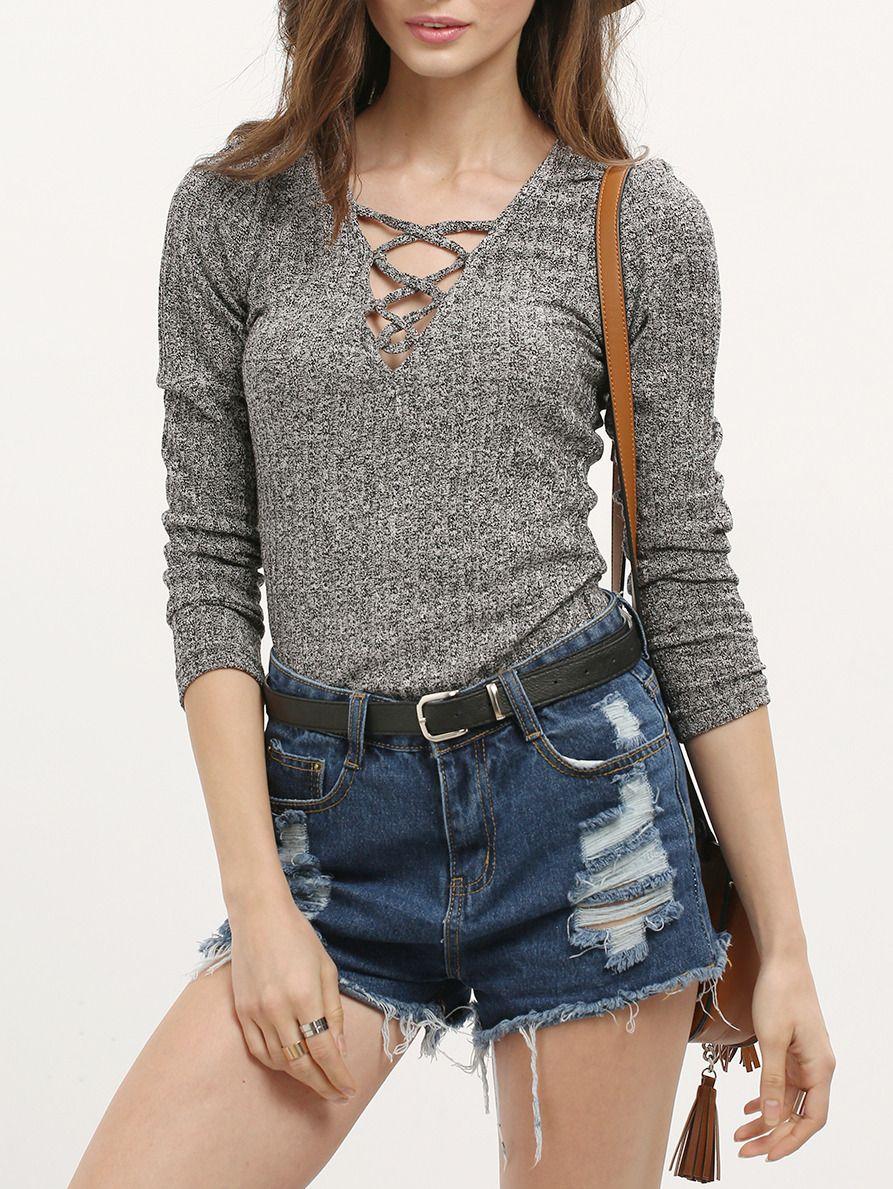 Camiseta manga larga cuello V -gris-Spanish SheIn(Sheinside ... e7347a02aac4d