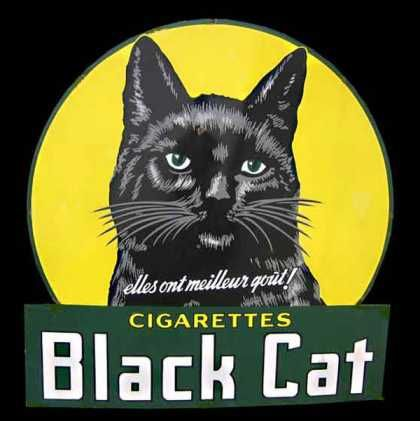 black cat smokes