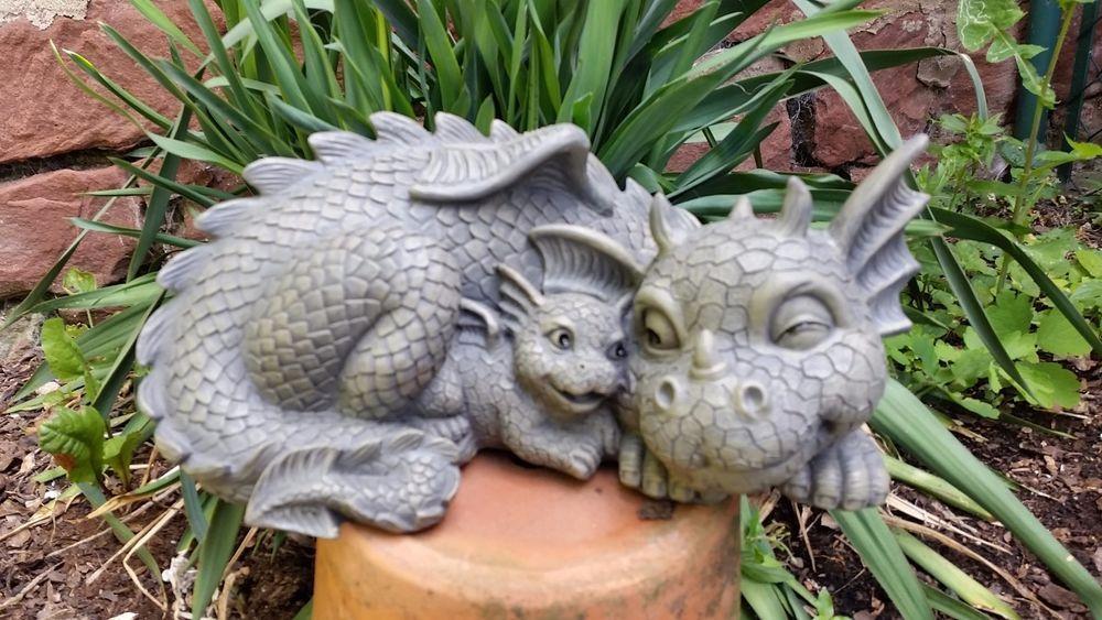 Gartenfiguren Gartenfigur Dekoration Skulpturen Terrasse Drache Mutter Garten Figur Kind Deko Ebay Mit Dragon Decor Dragon Figurines Dragon Garden
