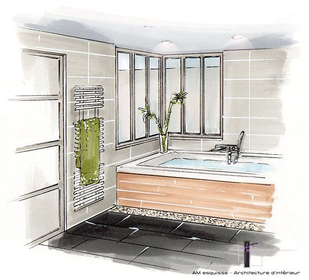 Perspective de la salle de bain avec verri re donnant sur for Croquis de salle de bain