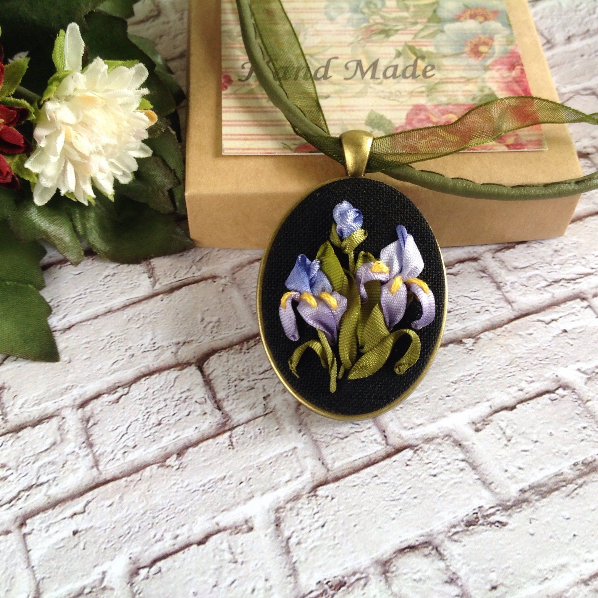 Iris Flower Necklace Silk Ribbon Embroidered Flower Jewelry For Woman Oval Floral Multicolor Pendant Hand Sti Flower Jewellery Iris Flowers Embroidered Flowers