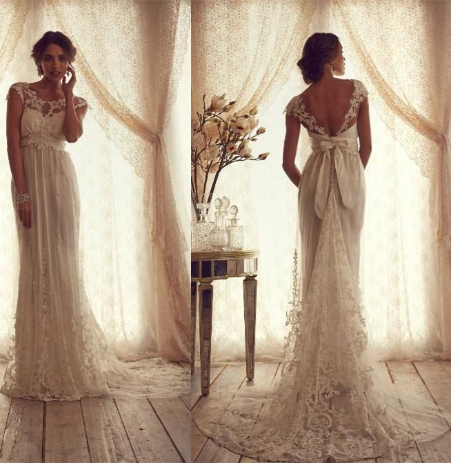 2015 Vintage Crew Wedding Dresses Sheer Lace Cap Sleeve Bow V Back ...