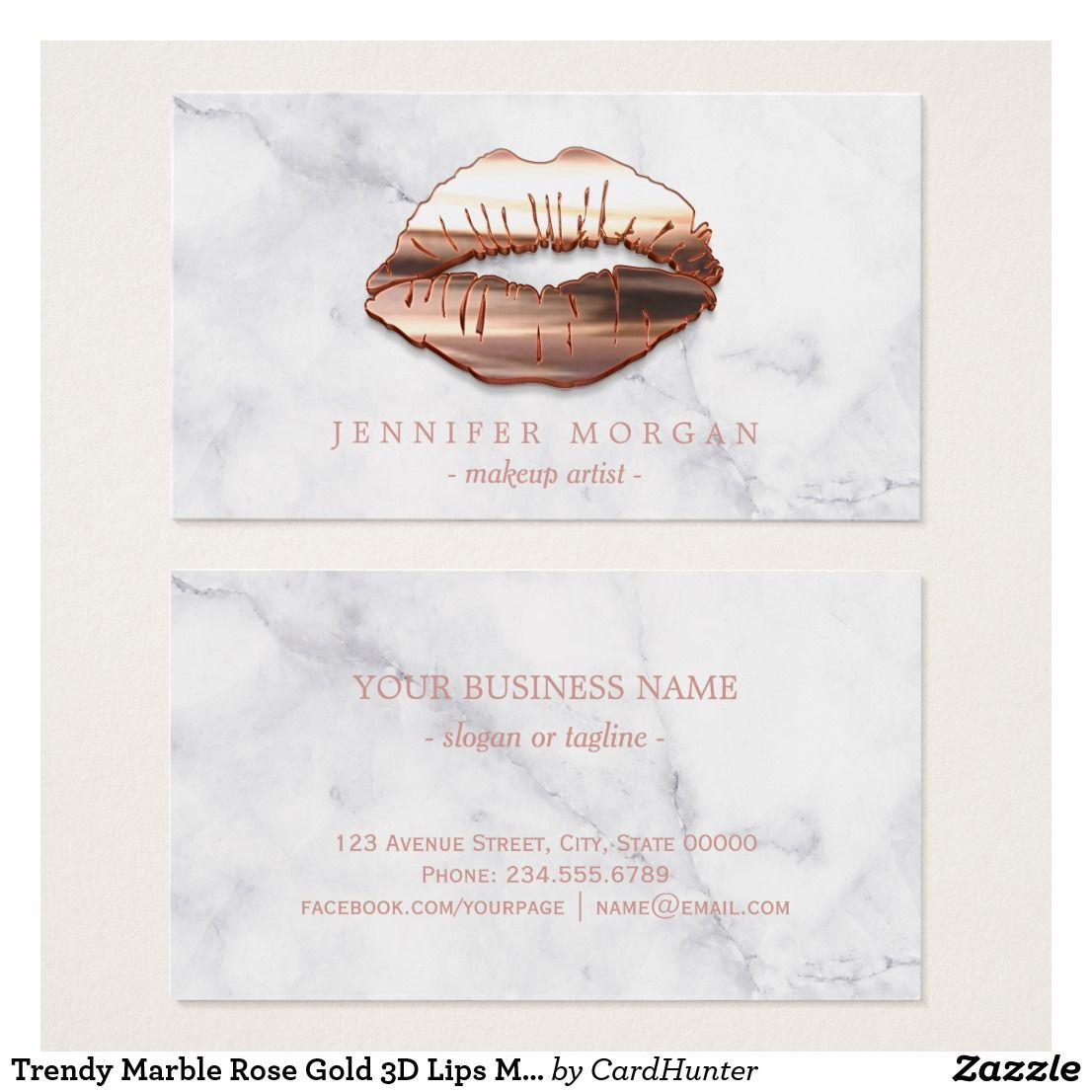 Business card makeup artist business cards business cards and logos trendy marble rose gold 3d lips makeup artist business card colourmoves