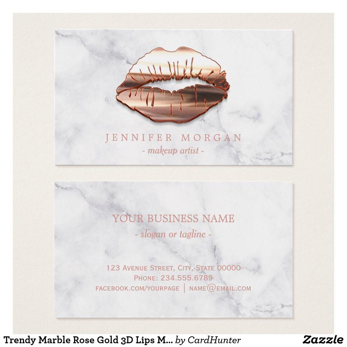 Trendy Marble Rose Gold 3D Lips Makeup Artist Business Card | Makeup ...