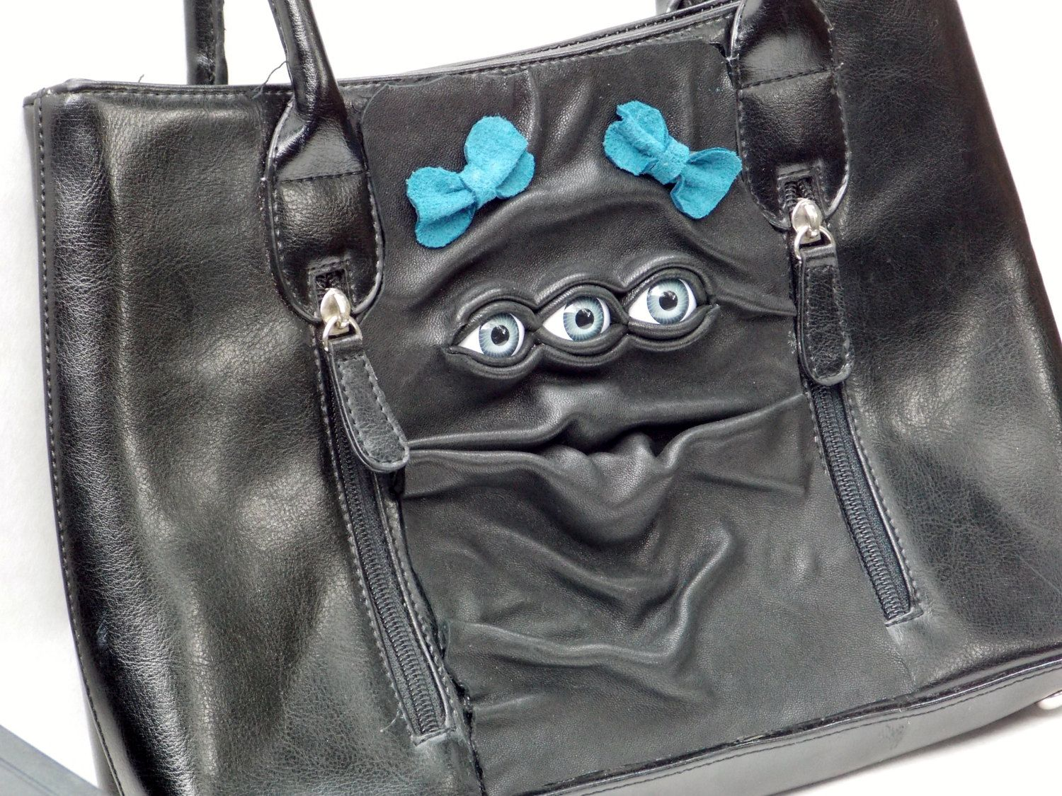 Leather Purse Black Handbag Pocketbook with Eyes by pippenwycks, $75.00