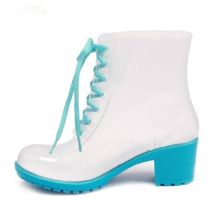 New Fashion Women High Heels Transparent PVC Rain Boots Lace-up Clear  Martin Rainboots Water