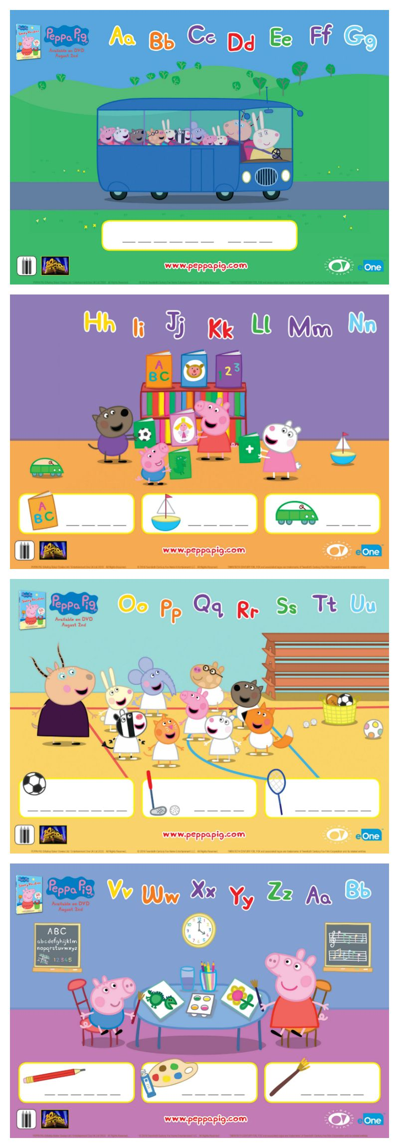 Free peppa pig printable word puzzles lunch notes pinterest