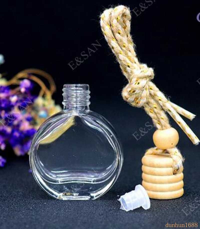 Wholesale 10ml Flat Round Perfume Bottle Glass Car Hanging Perfume Bottle 100pcs Lot Aliexpres Refillable Perfume Bottle Cosmetic Containers Perfume Atomizer