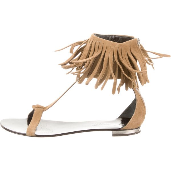 52eb8c068807 Pre-owned Giuseppe Zanotti x Balmain Suede Fringed Sandals ( 135) ❤ liked on