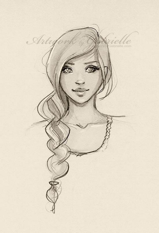 Simple beauty braid long hair drawing sketch girl semplice bellezza treccia capelli lunghi disegno schizzo ragazza artwork by gabrielle art