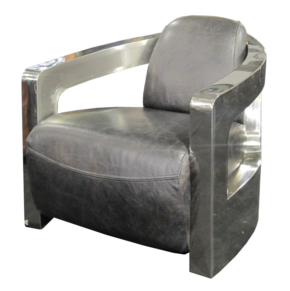 Etonnant Four Hands   Carnegie Sinclair Grey Leather Club Chair With Shinny Metal  Arms #Furnitureland South #Furniture Store