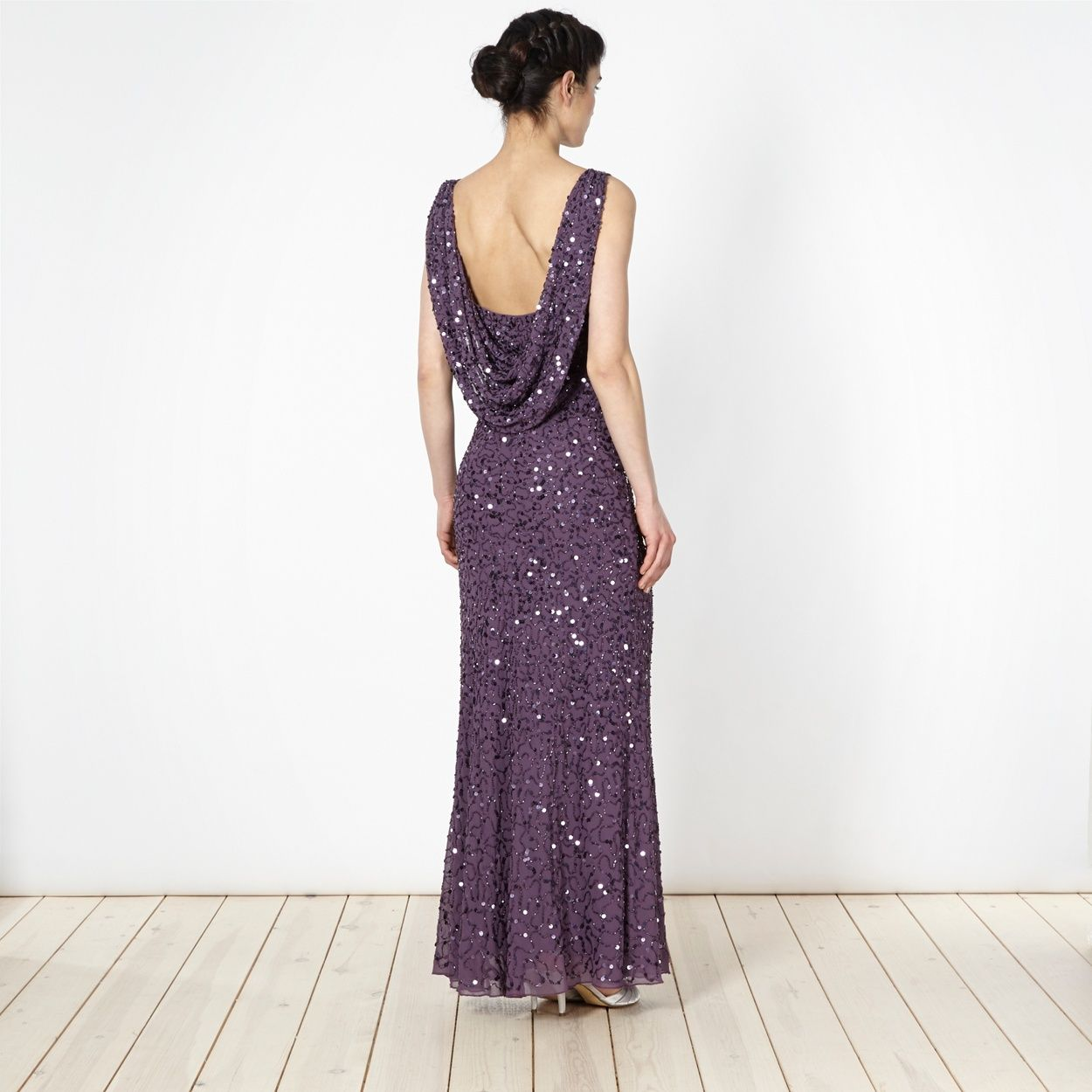 Debut Dark mauve beaded cowl back maxi dress- at Debenhams.com ...