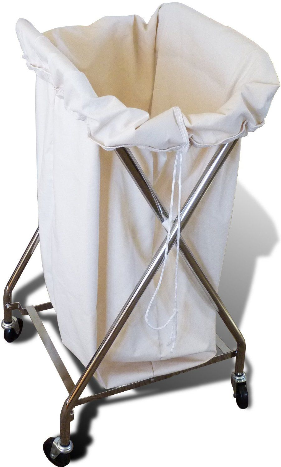 Amazon.com - Lumex GF8132 Adjustable Folding Hamper with Natural Canvas Bag; Rolling Chrome-plated Laundry Cart and Liner - Rolling Hampers For Laundry