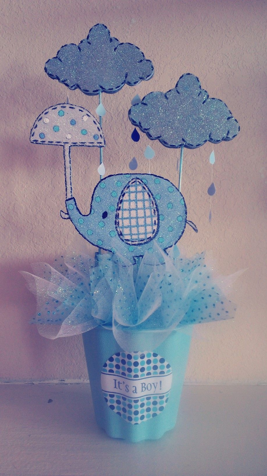 Elephant quot umbrellaphant baby shower centerpiece