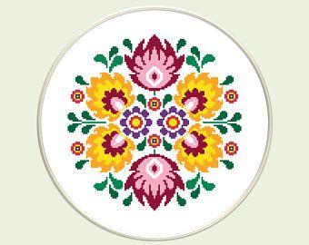 Mandala modern cross stitch pattern | Polish cross stitch | Polish folk art | Punto de cruz | Floral embroidery | Instant download PDF #509